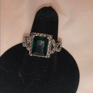 Emerald cocktail ring size 7